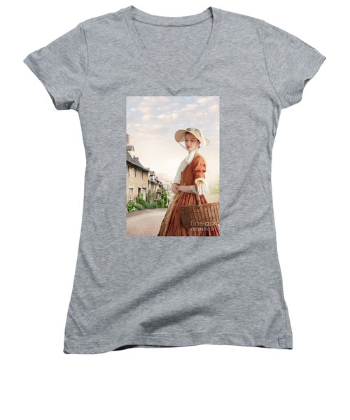 Georgian Period Woman Women's V-Neck T-Shirt (Junior Cut) by Lee Avison