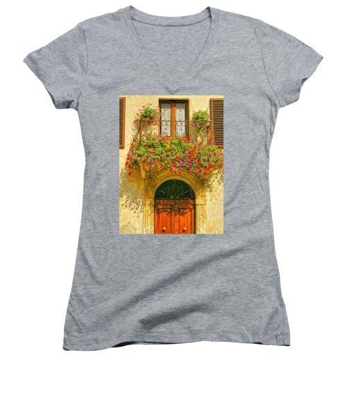 Gerani Coloriti Women's V-Neck T-Shirt (Junior Cut) by Dominic Piperata