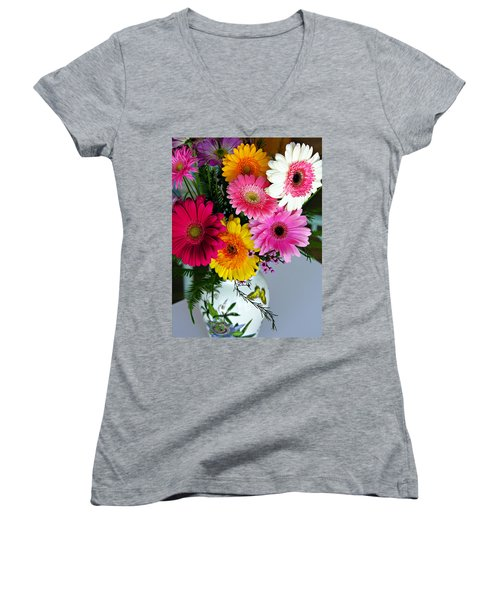 Gerbera Daisy Bouquet Women's V-Neck (Athletic Fit)