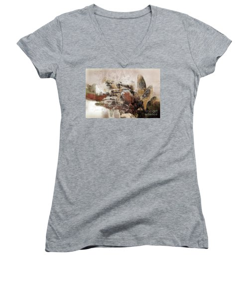 Women's V-Neck T-Shirt (Junior Cut) featuring the mixed media Gerberie - 152s by Variance Collections