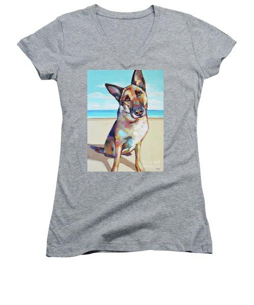 German Shepard On The Beach Women's V-Neck T-Shirt