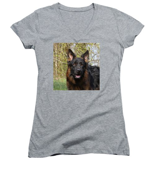 Women's V-Neck T-Shirt (Junior Cut) featuring the photograph German Shepherd Close Up by Sandy Keeton
