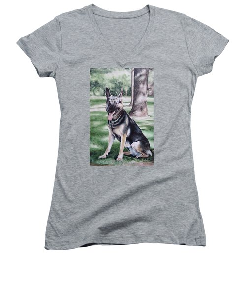 German Shepherd Women's V-Neck (Athletic Fit)