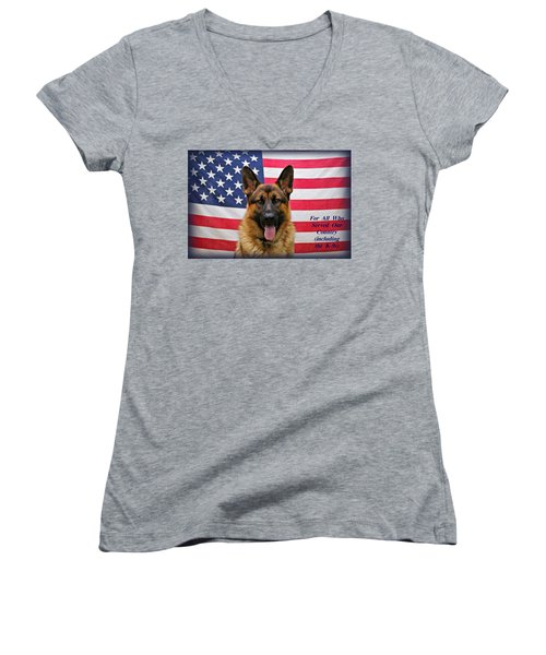 German Shepherd - U.s.a. - Text Women's V-Neck T-Shirt (Junior Cut) by Sandy Keeton