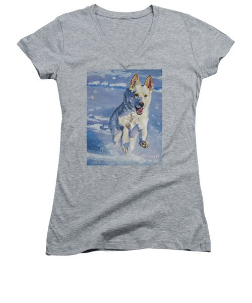 German Shepherd White In Snow Women's V-Neck T-Shirt (Junior Cut) by Lee Ann Shepard