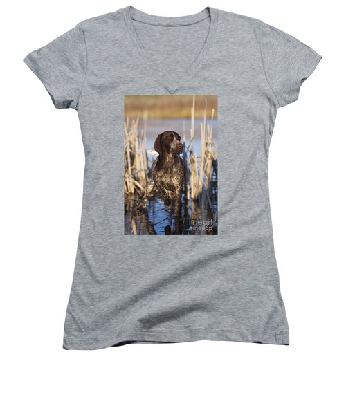 German Shorthair On Point -  D000897 Women's V-Neck (Athletic Fit)