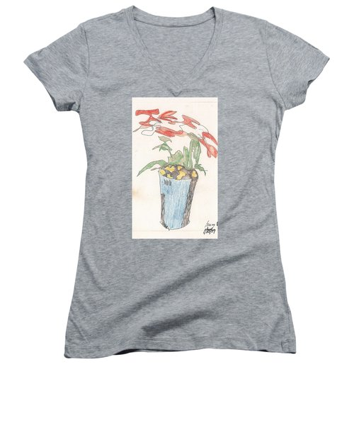 Women's V-Neck T-Shirt featuring the drawing Gesture Drawing Of Poinsettia by Rod Ismay