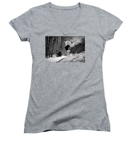 Women's V-Neck T-Shirt (Junior Cut) featuring the photograph Getting Air On The Snowboard by David Patterson