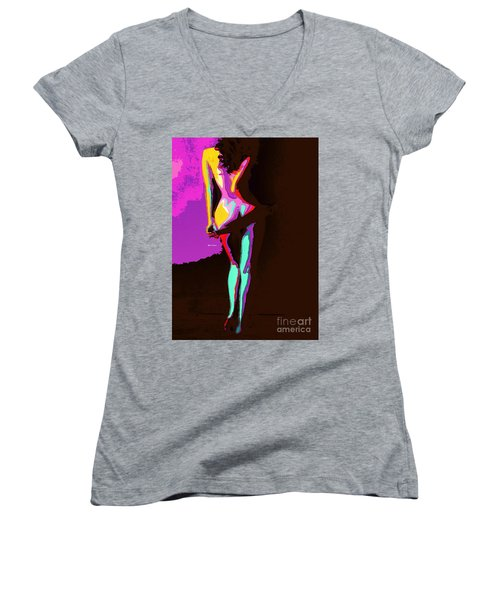 Women's V-Neck T-Shirt featuring the digital art Getting Comfortable by Rafael Salazar