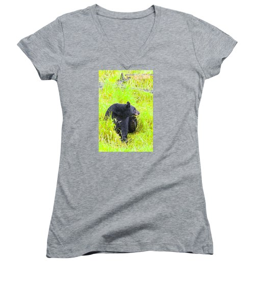 Getting Ready Women's V-Neck T-Shirt (Junior Cut) by Harold Piskiel