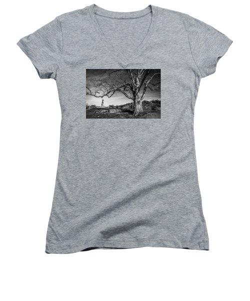 Gettysburg Below Little Round Top Women's V-Neck T-Shirt (Junior Cut)