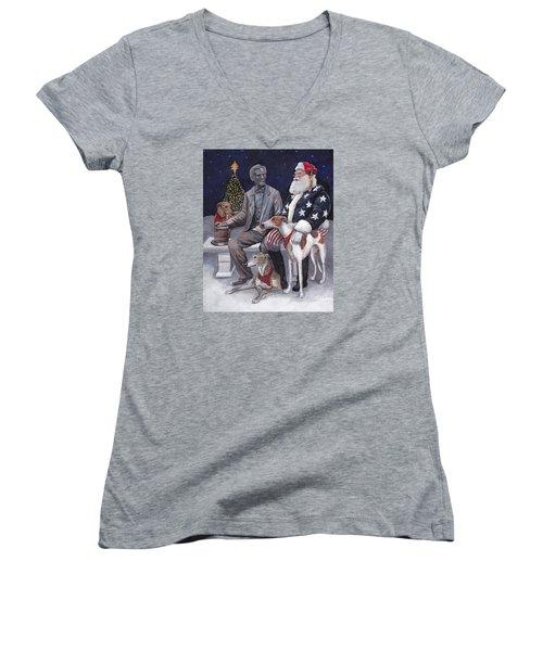 Gettysburg Christmas Women's V-Neck T-Shirt (Junior Cut)
