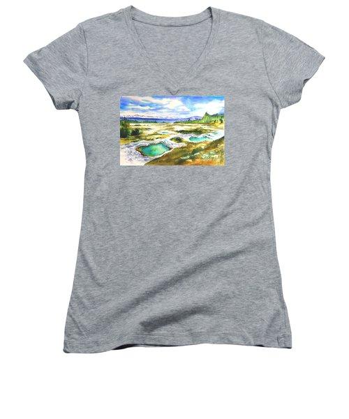 Geyser Basin, Yellowstone Women's V-Neck T-Shirt