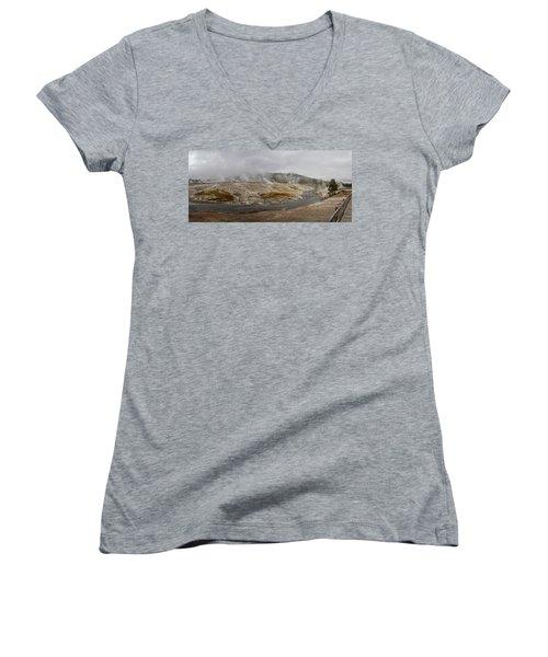 Geyser Hill  Women's V-Neck T-Shirt (Junior Cut) by Shirley Mitchell