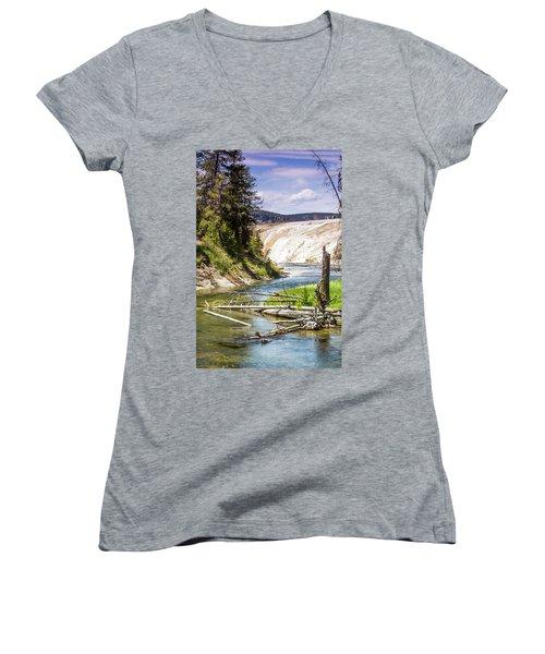 Geyser Stream Women's V-Neck T-Shirt (Junior Cut) by Dawn Romine