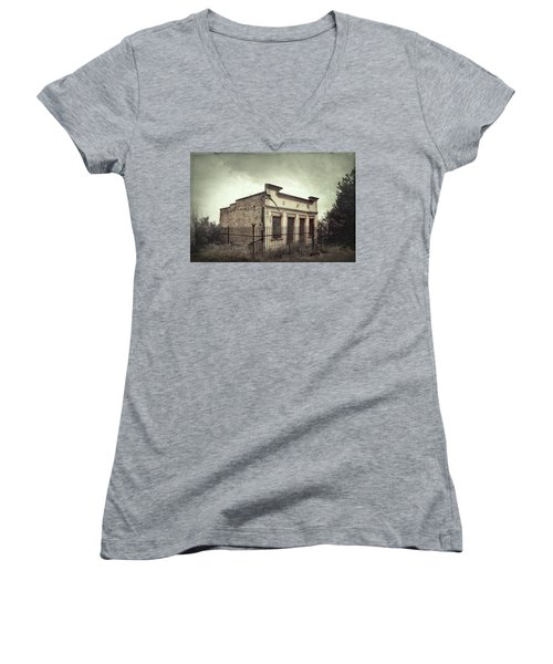 Ghost Cottage Women's V-Neck T-Shirt (Junior Cut) by Robert FERD Frank