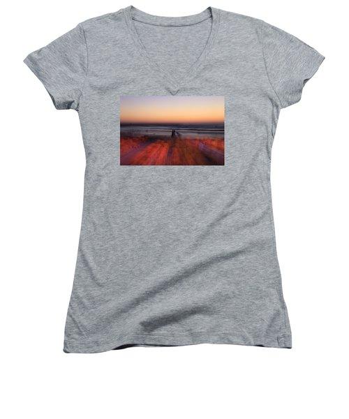 Ghost On A Beach. Women's V-Neck T-Shirt