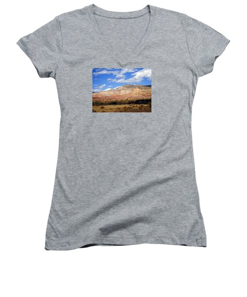 Women's V-Neck T-Shirt (Junior Cut) featuring the photograph Ghost Ranch New Mexico by Kurt Van Wagner