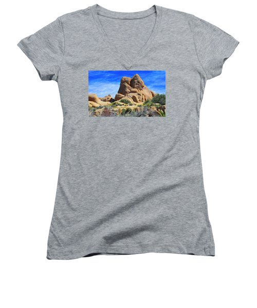 Women's V-Neck T-Shirt (Junior Cut) featuring the photograph Ghost Rock - Joshua Tree National Park by Glenn McCarthy Art and Photography