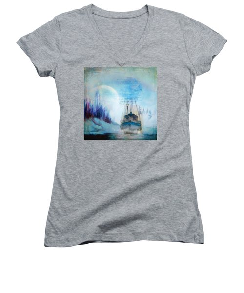 Ghost Ship Women's V-Neck T-Shirt (Junior Cut) by Diana Boyd