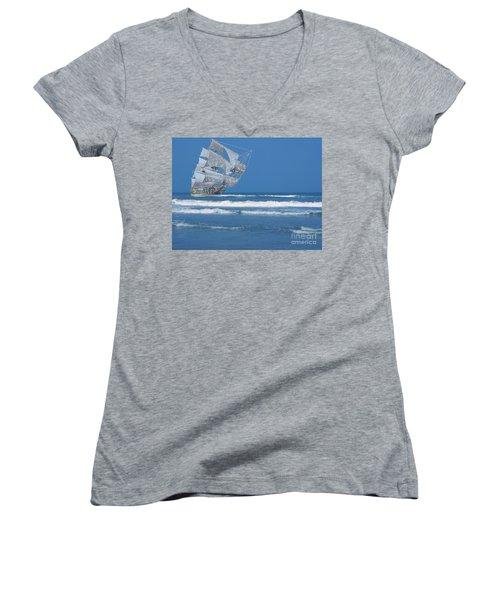 Ghost Ship On The Treasure Coast Women's V-Neck