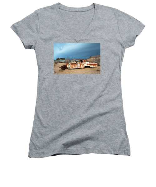 Women's V-Neck T-Shirt (Junior Cut) featuring the photograph Ghost Town Old Car by Catherine Lau