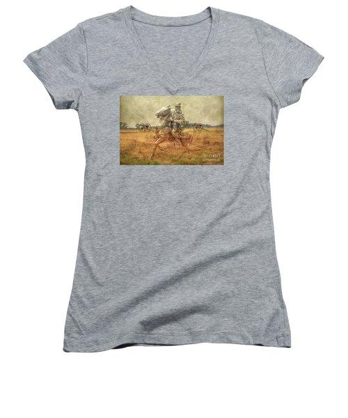 Ghosts Of Gettysburg II Women's V-Neck T-Shirt (Junior Cut) by Randy Steele