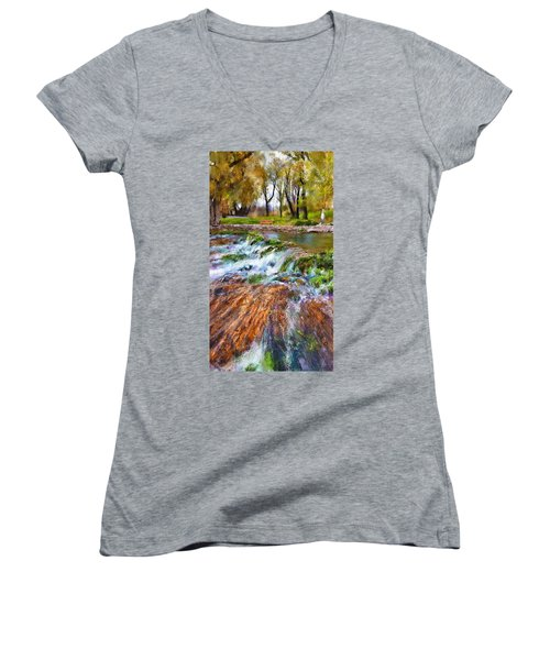 Giant Springs 2 Women's V-Neck T-Shirt (Junior Cut) by Susan Kinney