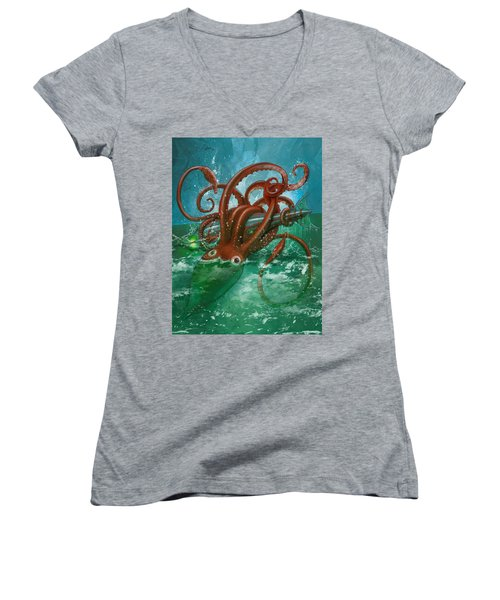 Giant Squid And Nautilus Women's V-Neck