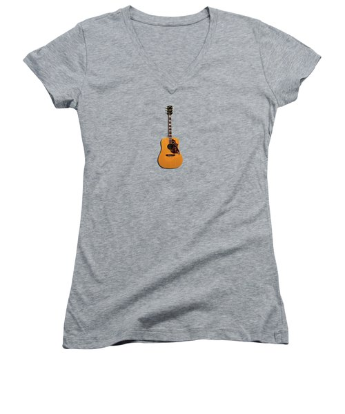 Gibson Hummingbird 1968 Women's V-Neck T-Shirt (Junior Cut) by Mark Rogan