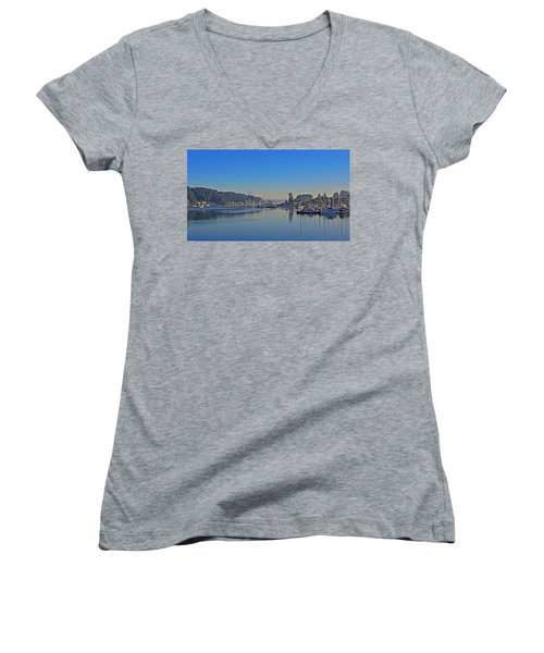 Gig Harbor, Wa Women's V-Neck T-Shirt (Junior Cut) by Jack Moskovita