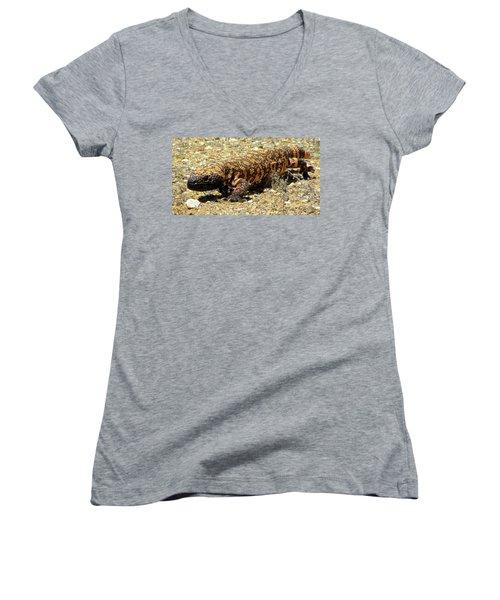 Gila Monster On The Prowl Women's V-Neck T-Shirt (Junior Cut) by Brenda Pressnall