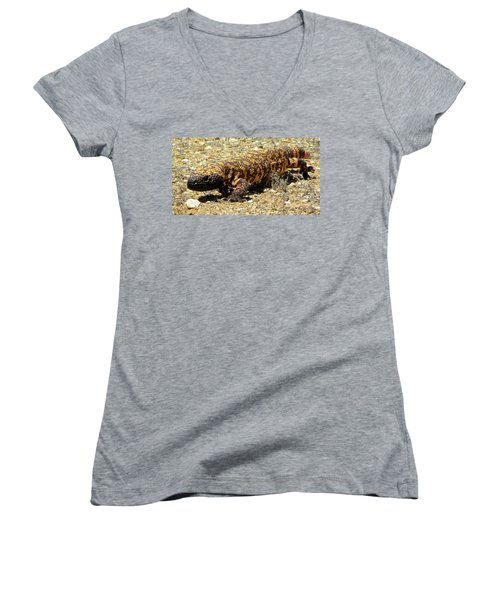 Gila Monster On The Prowl Women's V-Neck (Athletic Fit)