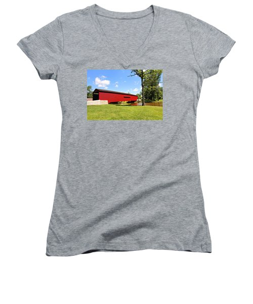 Women's V-Neck T-Shirt (Junior Cut) featuring the photograph Gilpin's Falls Covered Bridge by Trina  Ansel