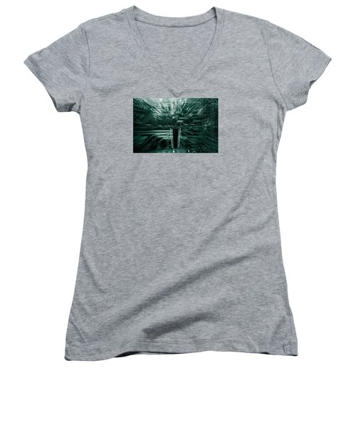 Women's V-Neck T-Shirt (Junior Cut) featuring the photograph Ginat Microchip Hovering Above Circuit-board by Christian Lagereek
