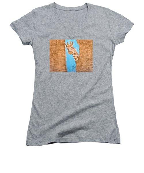 Giraffe  Women's V-Neck T-Shirt (Junior Cut) by Ann Michelle Swadener