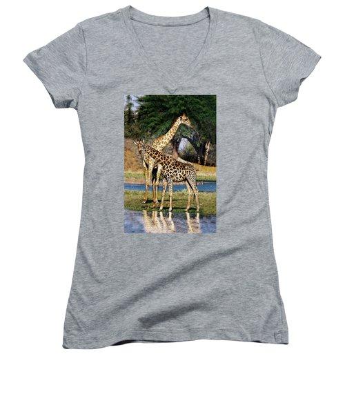 Giraffe Mother And Calf Women's V-Neck