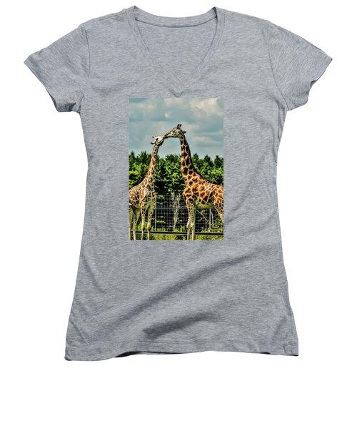 Giraffes Necking Women's V-Neck (Athletic Fit)