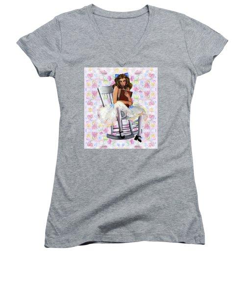Girl Women's V-Neck T-Shirt