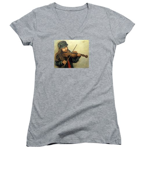 Girl And Her Violin Women's V-Neck T-Shirt (Junior Cut) by Natalia Tejera
