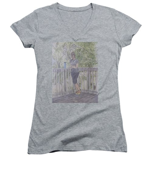 Women's V-Neck T-Shirt featuring the painting Girl At The Mountain Top by Joel Deutsch