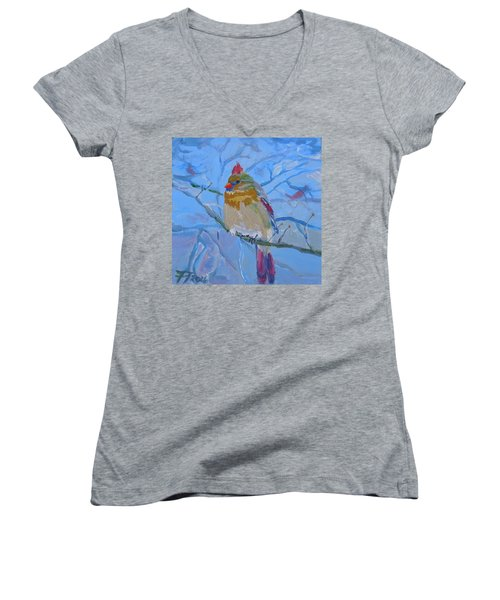 Women's V-Neck T-Shirt (Junior Cut) featuring the painting Girl Cardinal by Francine Frank
