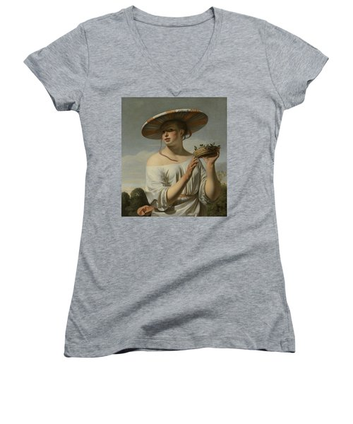 Girl In A Large Hat, C.1645-1650 Women's V-Neck (Athletic Fit)