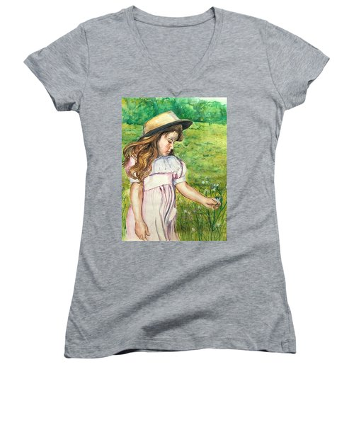 Girl In Straw Hat Women's V-Neck T-Shirt