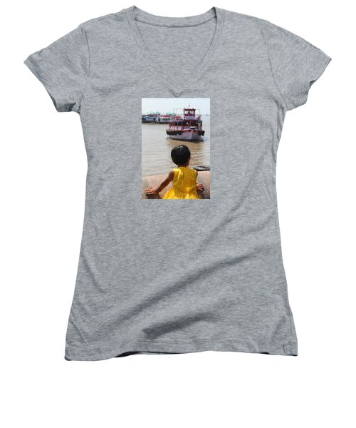 Girl In Yellow Dress W/leaf In Hair Looking At Boats Women's V-Neck T-Shirt (Junior Cut) by Jennifer Mazzucco
