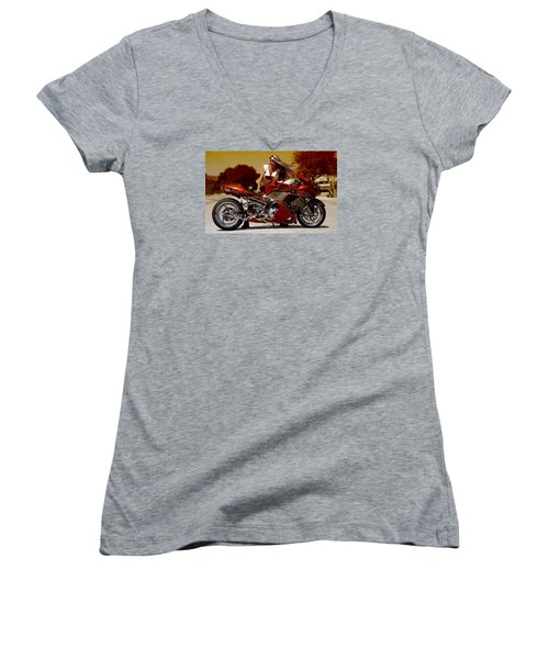 Women's V-Neck T-Shirt (Junior Cut) featuring the photograph Girl On Fire by Lawrence Christopher