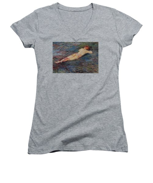Girl On Volcanic Beach, Spain Women's V-Neck T-Shirt