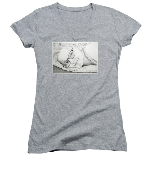 Girl Women's V-Neck T-Shirt (Junior Cut) by Tine Nordbred