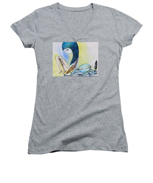 Girl With Octopus  Women's V-Neck (Athletic Fit)