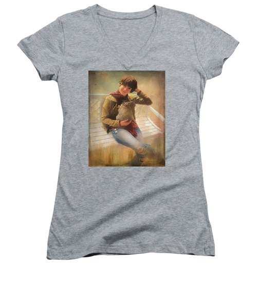 Women's V-Neck T-Shirt featuring the photograph Girl With Rabbit by Bellesouth Studio